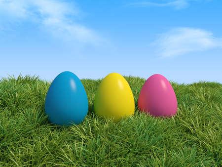 3d illustration of Easter eggs in green grass  illustration