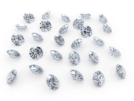 3d illustranion of diamond jewels on white background  Stock Photo