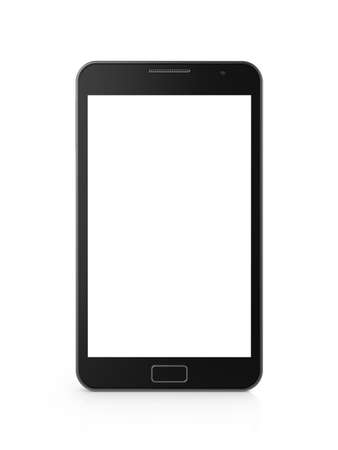 mobile internet: 3d illustration of touchscreen smartphone isolated on white background  Stock Photo