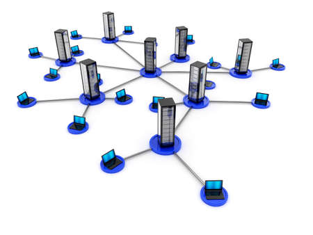datacenter: Illustration of laptop network connected to server isolated on white background Stock Photo