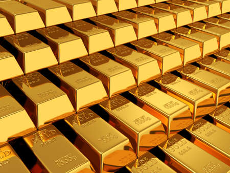 gold bars: 3d render of gold bars background Stock Photo