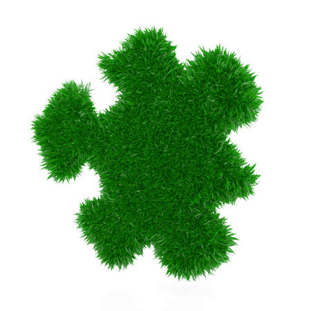 3d render of grass puzzle isolated on white background photo