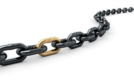 steel bridge: 3d render of chain with one shiny golden link