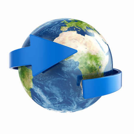 3d render of Earth with blue arrow around photo