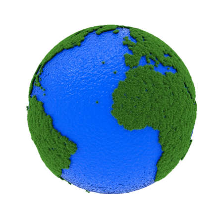 3d render of earth ecological concept with grass and water photo