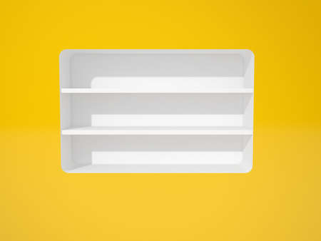 3d render of white shelfs in yellow wall photo