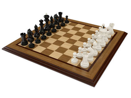3d render of chess board with figures in white background photo