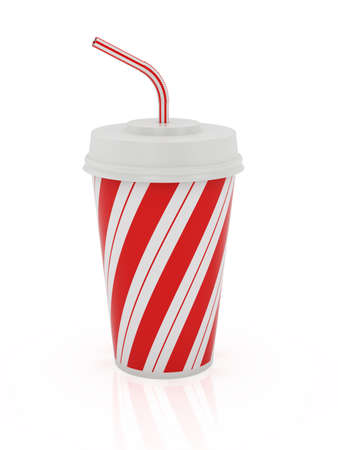drinking soda: 3d render of plastic cup and straw isolated on a white background  Stock Photo