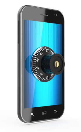combination lock: 3d render of touchscreen phone with combination Lock isolated on white background Stock Photo