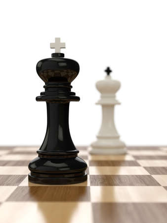 3d render of composition with kings on glossy chessboard  photo