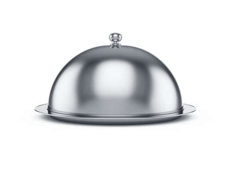 serving tray: 3d render of closed cloche, isolated on white background Stock Photo