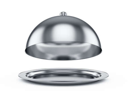silver tray: 3d render of opened cloche, isolated on white background
