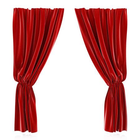 curtain theater: 3D hacen de tel�n rojo aislado en fondo blanco