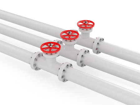 natural gas production: 3d render of pipelines on white background