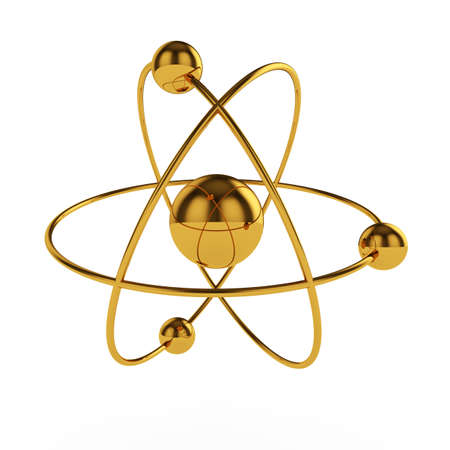 atomic energy: 3d illustration of golden atom model isolated on white background