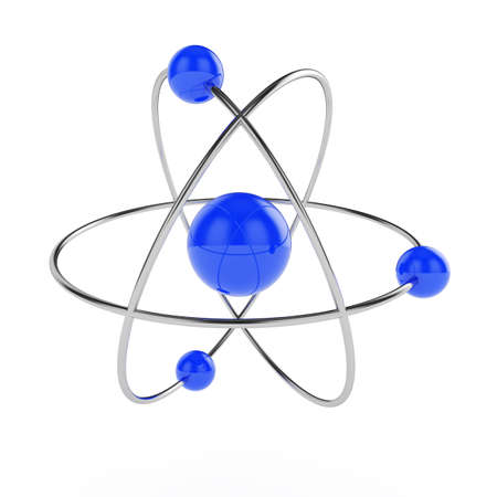 orbiting: 3d illustration of atom model isolated on white background