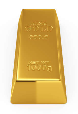 ingots: 3d render of gold bar isolated on white  background