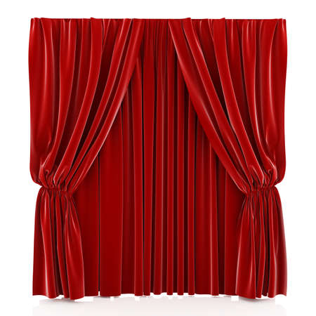 drape: 3d render of red curtain isolated at white background  Stock Photo