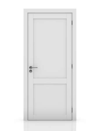 empty keyhole: 3d illustration of white door. Isolated on white background Stock Photo