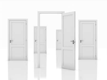 door casing: 3d illustration of doors concept isolated on white background Stock Photo
