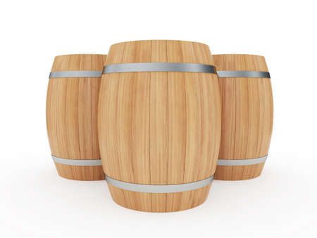 vat: 3d illustration of a group of wine barrels isolated on white