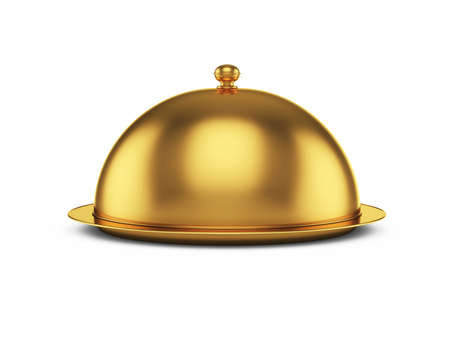cloche: 3d render of closed godlen cloche, isolated on white background Stock Photo