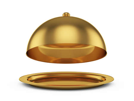 3d render of opened golden cloche, isolated on white background Stock Photo