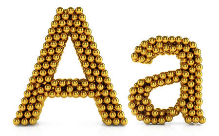 3d illustration of golden alphabet isolated on white background illustration