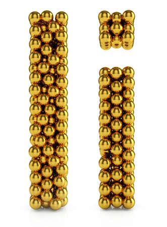 3d illustration of golden alphabet isolated on white background illustration
