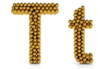 typeset: 3d illustration of golden alphabet isolated on white background