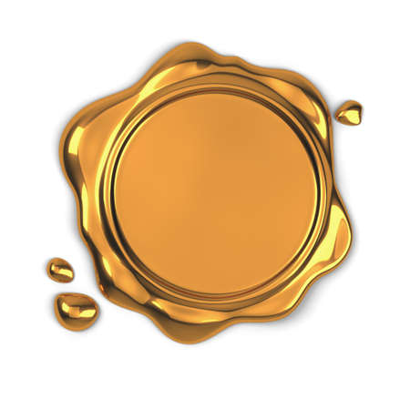 3d render of golden wax seal isolated on white background