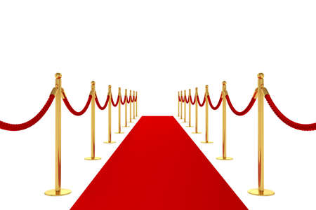 3d render of red carpet isolated on white background photo