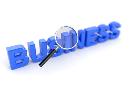investigate: 3d render of business word with magnifying glass