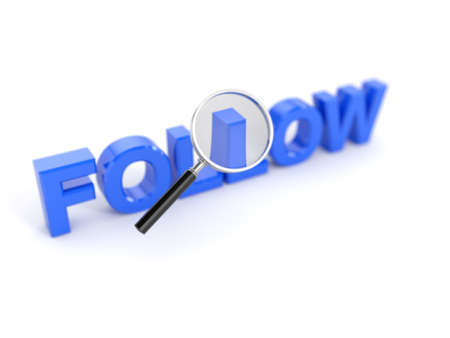 3d render of follow word with magnifying glass Stock Photo - 13509521