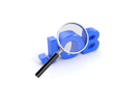 job hunt: 3d render of job concept with magnifying glass Stock Photo