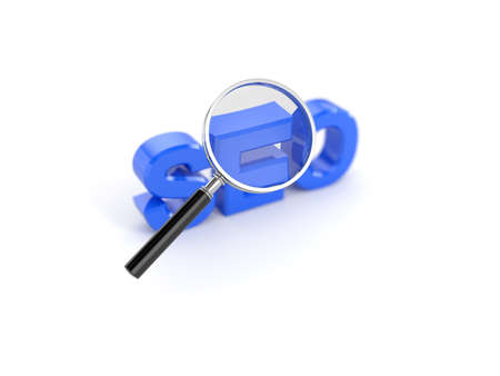3d render of seo concept with magnifying glass photo