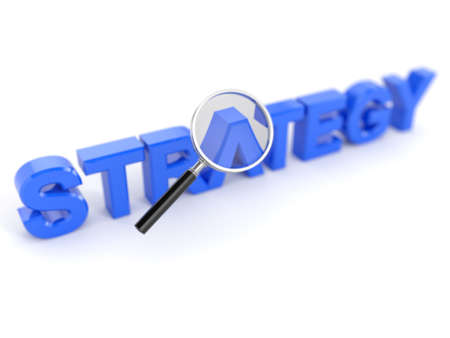 financial strategy: 3d render of strategy concept with magnifying glass