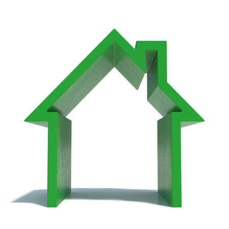 modern house: 3d render of green house icon with shadow  Isolated on white background Stock Photo