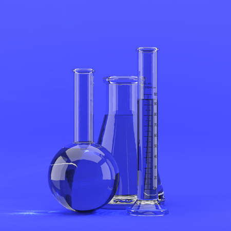 3d render of laboratory glassware on blue background photo