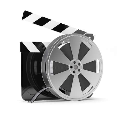 video production: 3d render of clapper board with film reel isolated on white background Stock Photo