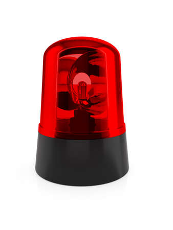 medical emergency service: 3d render of red flashing light on a white background