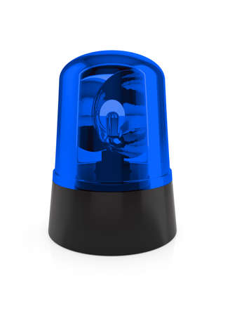 flashing light: 3d render of blue flashing light on a white background  Stock Photo