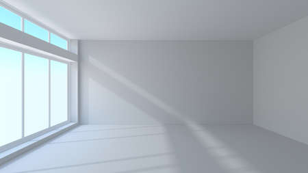 3d render of empty white interior with window photo
