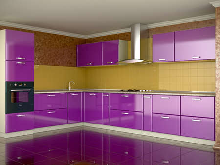 3d render of luxury colorful kitchen photo