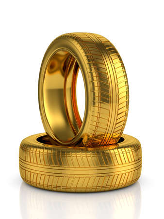 3d render of golden tyre isolated on white background photo