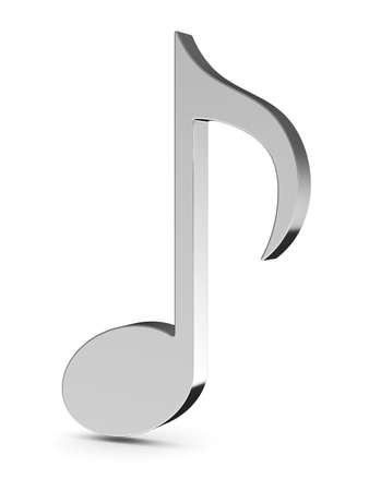 metal music: 3d render of music note isolated on white background Stock Photo
