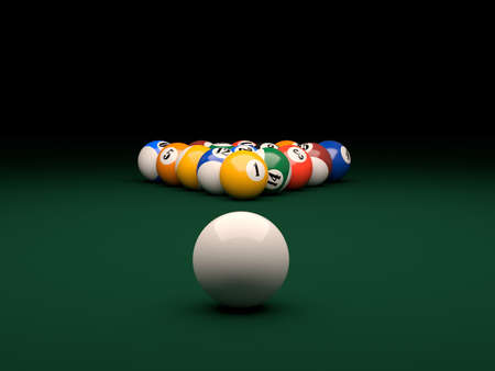 pool game: 3d render of balls on a pool  billiards  green table