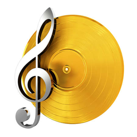 record: 3d render of golden vinyl record with music key