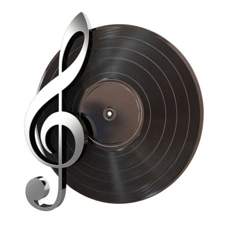 3d render of vinyl record with music key photo