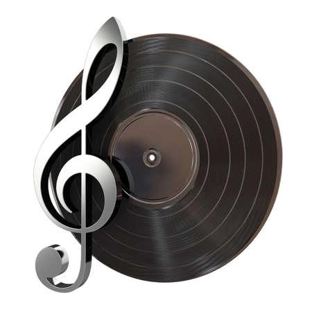 disc jockey: 3d render of vinyl record with music key